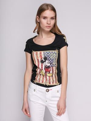 Футболка черная с американской символикой и изображением Микки Мауса | 434166