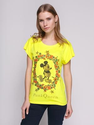Футболка ярко-желтая с изображением Микки Мауса | 848937