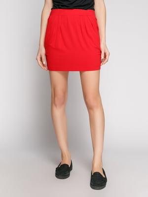 Юбка красная с карманами   402770