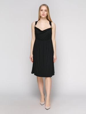 Сукня чорна з мереживною спинкою | 402695