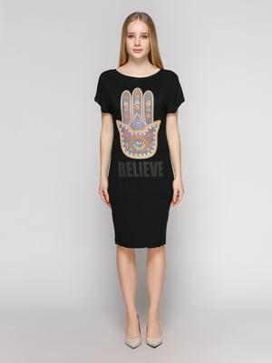 Платье черное с принтом | 625046