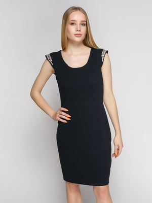 Сукня чорна з декорованим міні-рукавом   402778