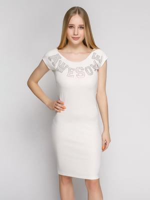 Сукня біла з декорованим написом | 1215245