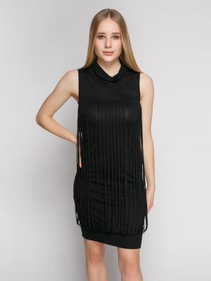 Платье черное с оригинальной отделкой | 1215171