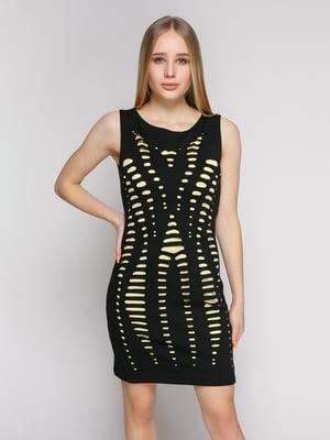 Платье черно-желтое с вырезами | 1215151