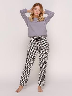 Брюки черно-белые в зигзаги пижамные  06ddc669cd950