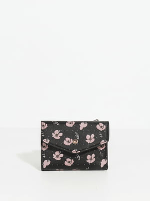 Кошелек черный в цветочный принт   4814794