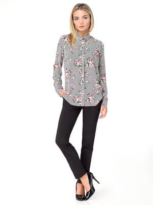 Рубашка в полоску с цветочным принтом | 4781890