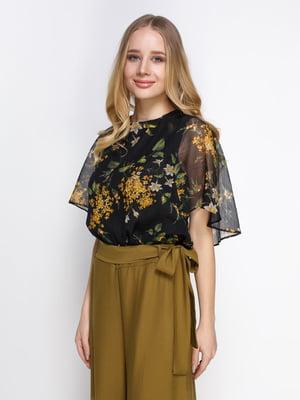 Блуза черная в цветочный принт | 4789939