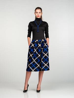 Платье черное с юбкой в синюю клетку | 4818114