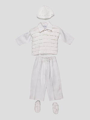 Комплект: жилет, рубашка, брюки, шапочка и пинетки | 1651579