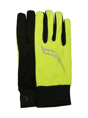 Перчатки черно-лимонного цвета | 4594342