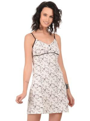 Сорочка молочна кольору в принт | 4824041