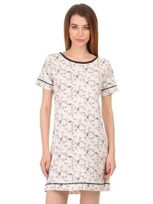 Сорочка молочна кольору в принт | 4824043