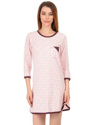 Рубашка ночная розовая в принт | 4824045