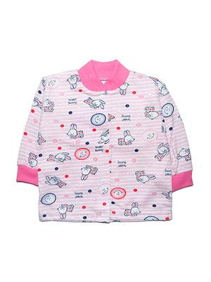 Кофта розовая с принтом | 4824011