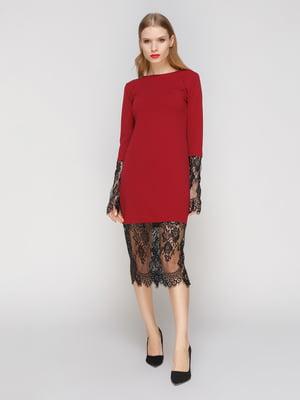 Сукня кольору марсала з мереживом - CELEBRITY - 2994714