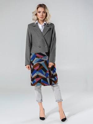 Пальто серое с принтом | 4645790