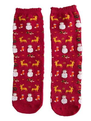 Носки красные с рисунком подростковые | 4820829