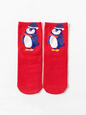 Носки красные с рисунком подростковые | 4820869