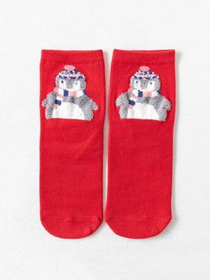 Носки красные с рисунком подростковые | 4820871