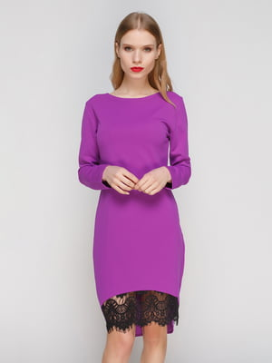 Платье фиолетовое с кружевом | 2959611