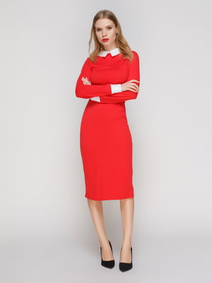 Сукня червона з білим коміром і манжетами - CELEBRITY - 2959617