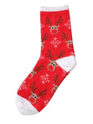 Носки красные с рисунком | 4820850