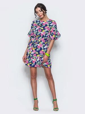 Сукня синя з принтом | 4547592