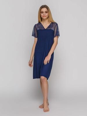 Сорочка нічна синя | 4631486