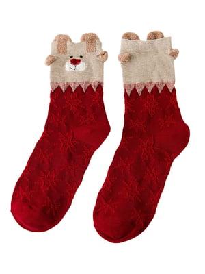 Носки красные с рисунком | 4820834