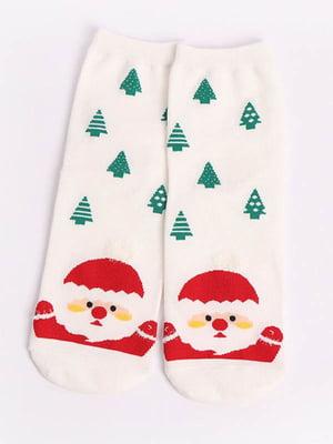 Носки белые с рисунком | 4820838