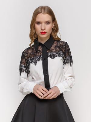 Блуза молочно-чорна | 2121409