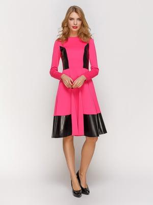 Платье малиновое с кожаными вставками   2141677