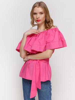 Блуза малинова з відкритими плечима | 2293425