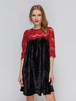 Короткое бархатное платье с французским кружевом   3778196