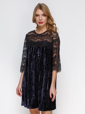 Короткое бархатное платье с французским кружевом   3778197