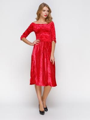 Платье плиссе с открытыми плечами   3778199