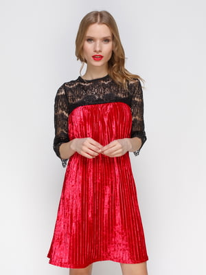 Короткое бархатное платье с французским кружевом | 3778194