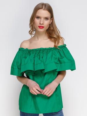 Блуза зелена з відкритими плечима | 2293422