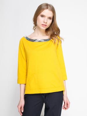 Джемпер желтый с клетчатой отделкой | 2197722
