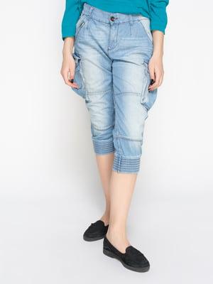 Капри голубые джинсовые с эффектом потертых | 2221269