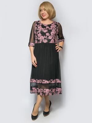 Платье черное с контрастной отделкой | 4688727