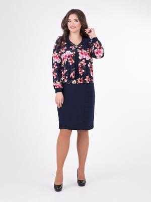 Сукня синя з квітковим принтом - ALL POSA - 4827734