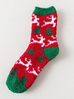 Носки красные с рисунком махровые | 4828432