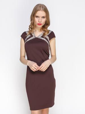 Сукня шоколадного кольору з контрастними вставками | 2127905