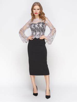 Платье-футляр с кружевом черного цвета   3812045