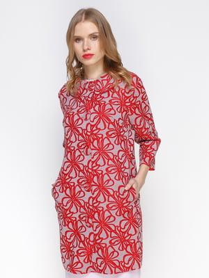Кардиган серо-красный в цветочный принт | 2127857