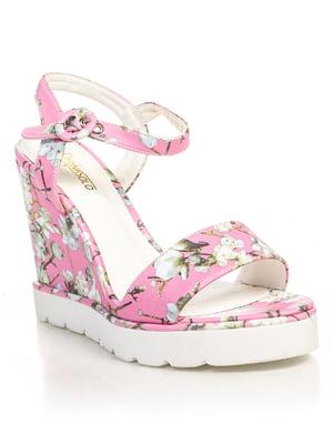 Босоніжки рожеві в квіти | 4715980