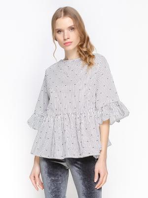 Блуза чорно-біла в горох | 3155098